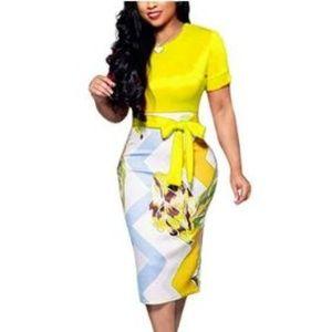 Women' Short Sleeve Pencil Dress Cute Bowknot